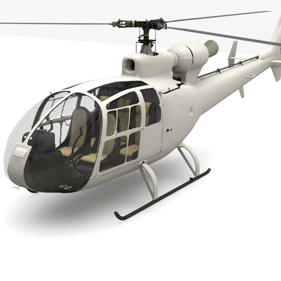 Aerospatiale Gazelle Helicopter royalty-free 3d model - Preview no. 3