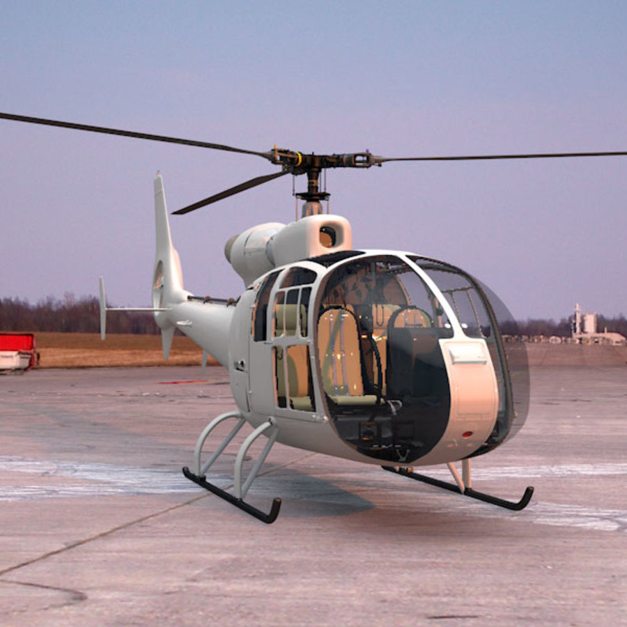 Aerospatiale Gazelle Helicopter royalty-free 3d model - Preview no. 11