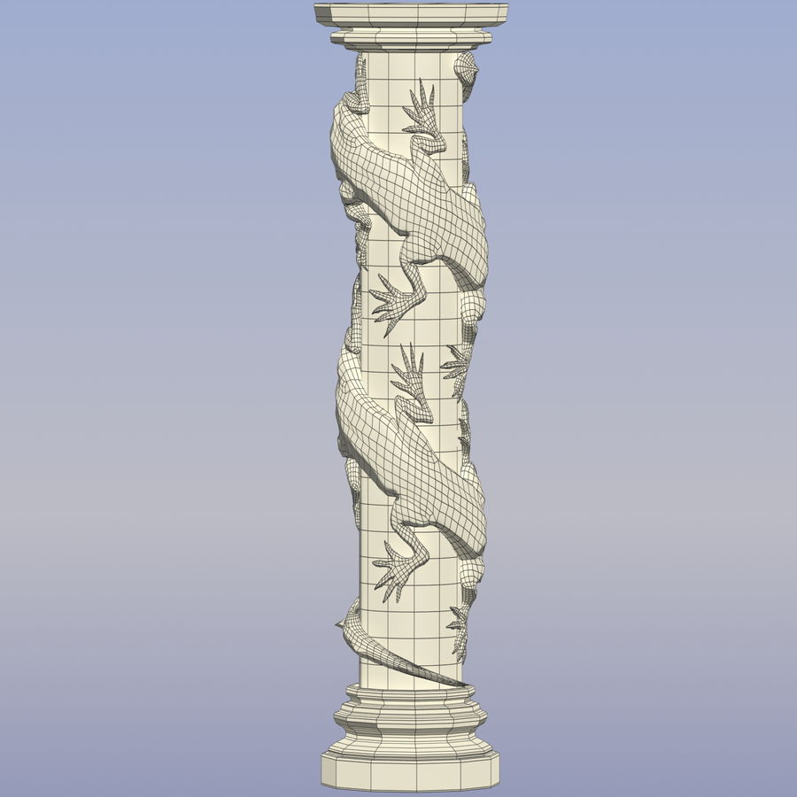 Dragon column royalty-free 3d model - Preview no. 12