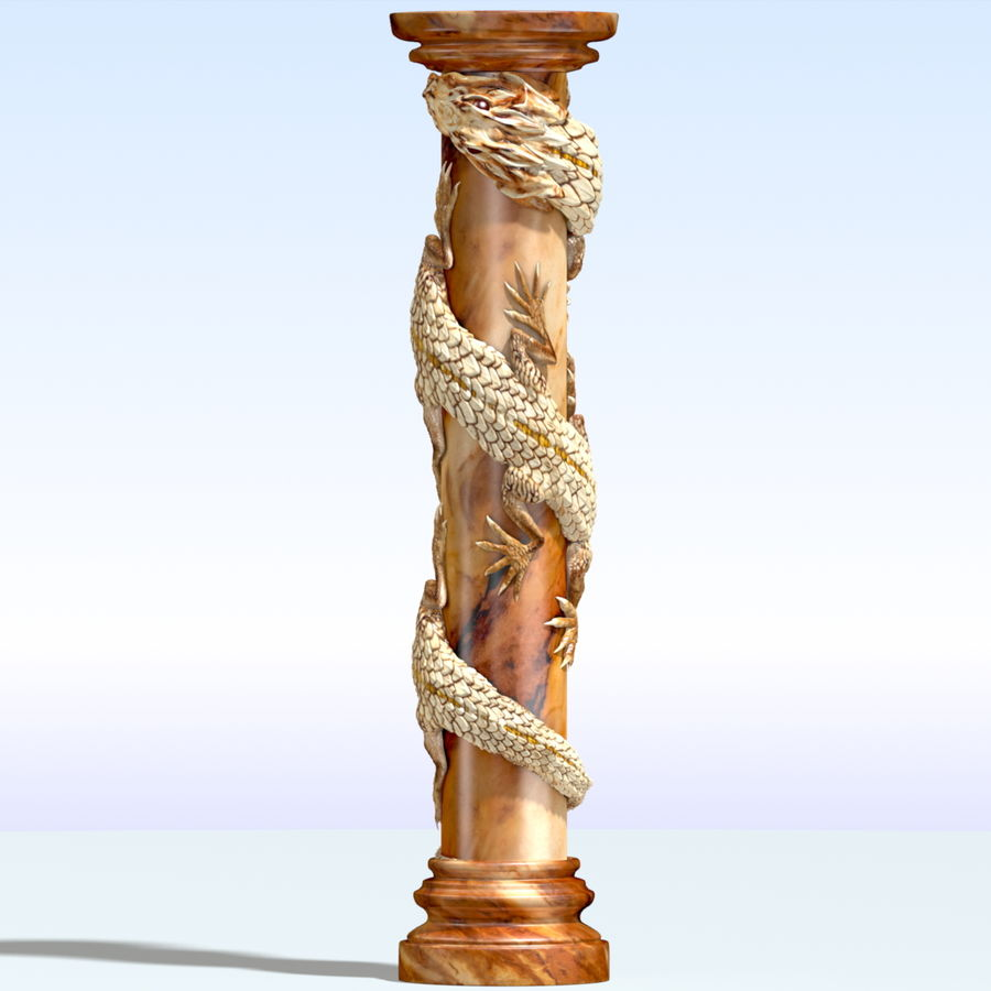 Dragon column royalty-free 3d model - Preview no. 3