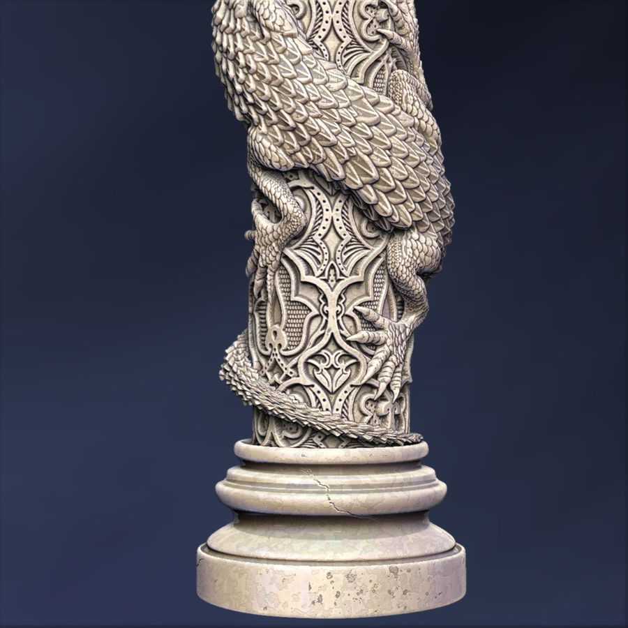 Dragon column royalty-free 3d model - Preview no. 4