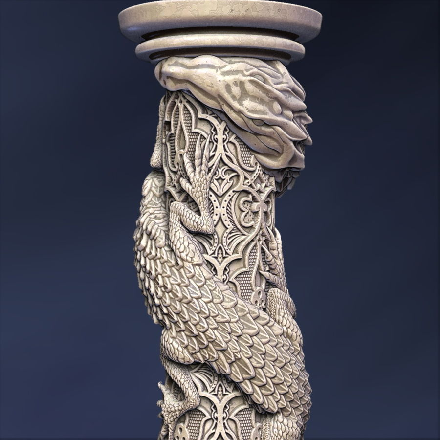 Dragon column royalty-free 3d model - Preview no. 1
