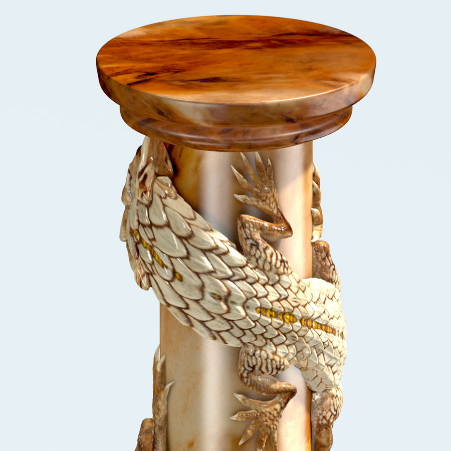 Dragon column royalty-free 3d model - Preview no. 5