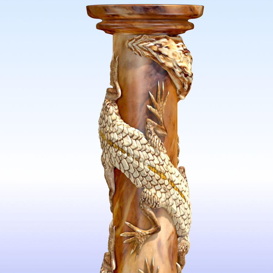 Dragon column royalty-free 3d model - Preview no. 9