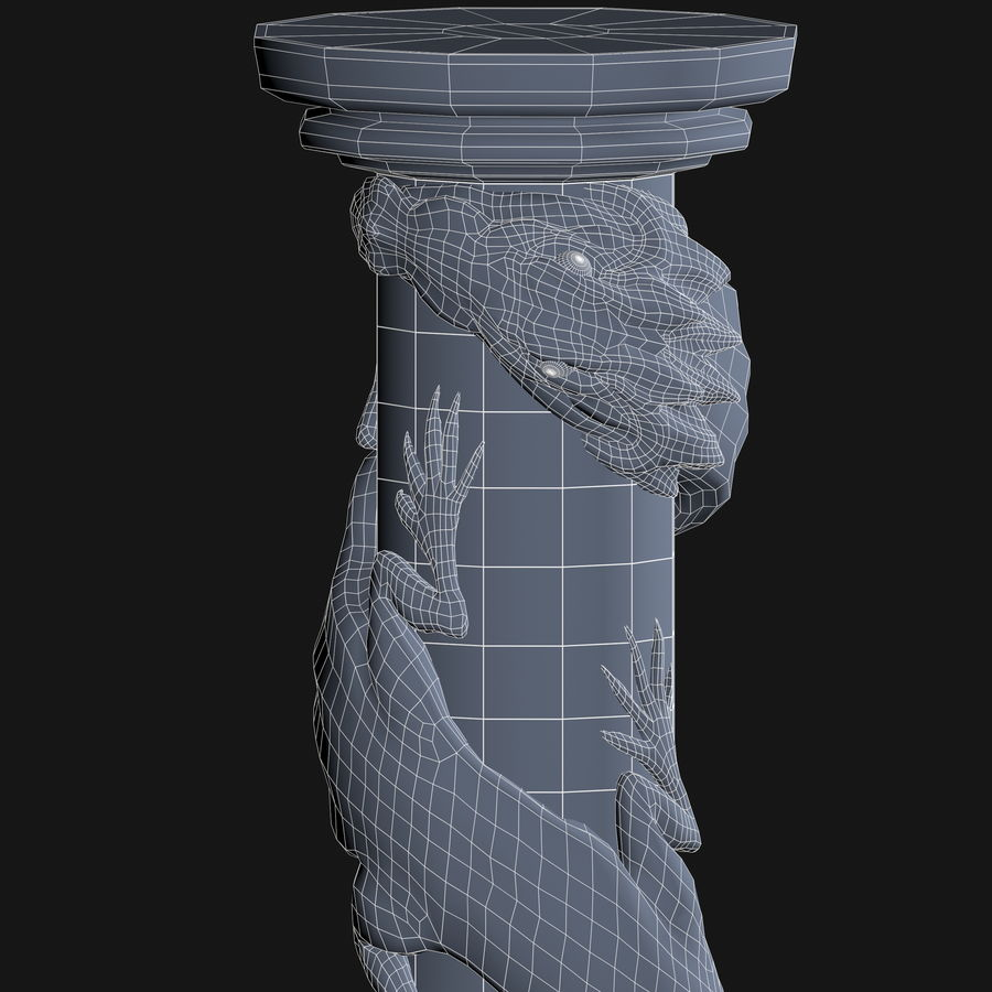 Dragon column royalty-free 3d model - Preview no. 14