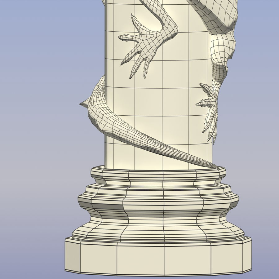 Dragon column royalty-free 3d model - Preview no. 13