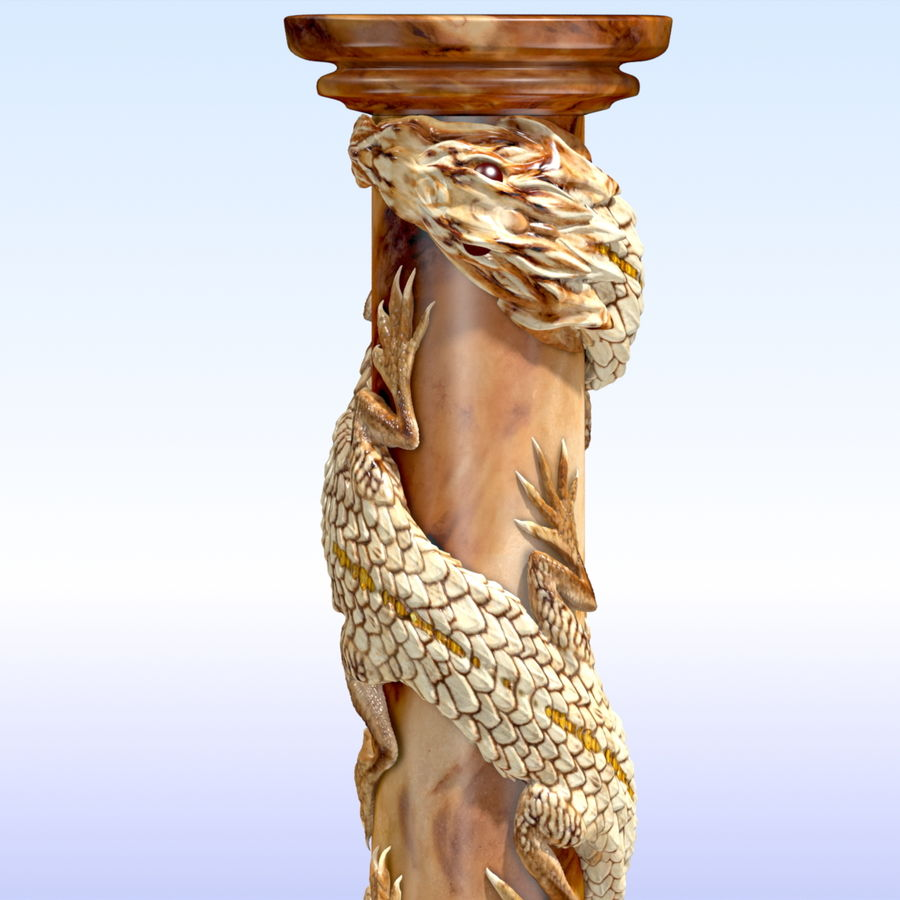 Dragon column royalty-free 3d model - Preview no. 7