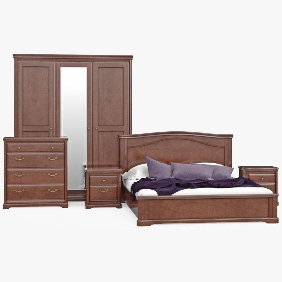 Set Classic Wooden Furniture For Bedroom Bed With Bedside Tables, Cabinet, Cupboard, Commode royalty-free 3d model - Preview no. 2