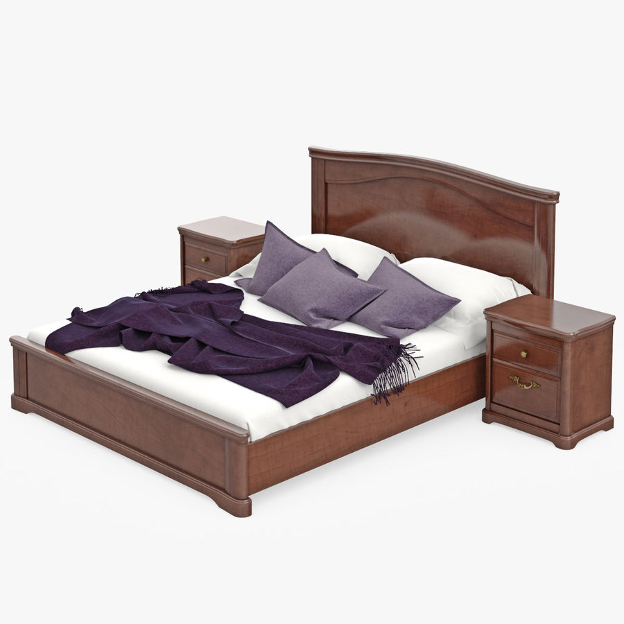 Set Classic Wooden Furniture For Bedroom Bed With Bedside Tables, Cabinet, Cupboard, Commode royalty-free 3d model - Preview no. 4