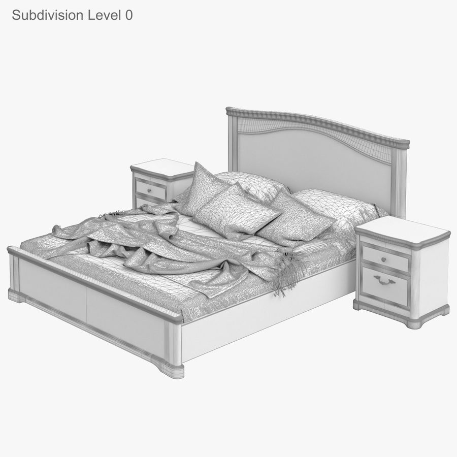 Set Classic Wooden Furniture For Bedroom Bed With Bedside Tables, Cabinet, Cupboard, Commode royalty-free 3d model - Preview no. 24