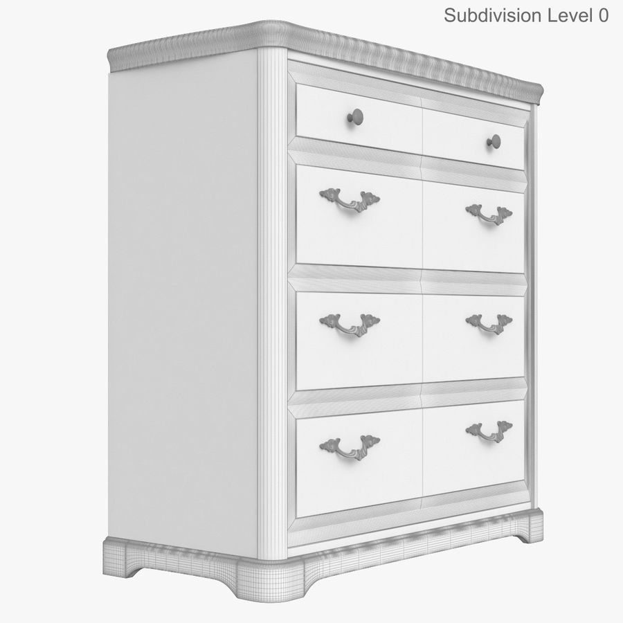 Set Classic Wooden Furniture For Bedroom Bed With Bedside Tables, Cabinet, Cupboard, Commode royalty-free 3d model - Preview no. 32