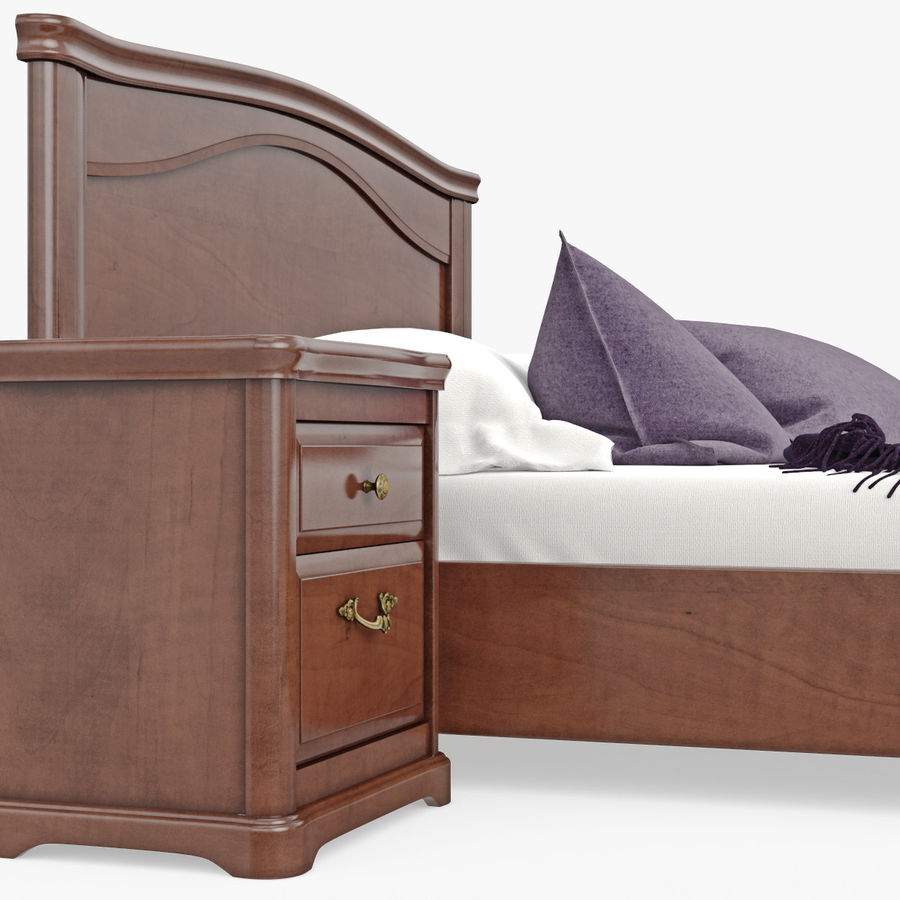 Set Classic Wooden Furniture For Bedroom Bed With Bedside Tables, Cabinet, Cupboard, Commode royalty-free 3d model - Preview no. 10