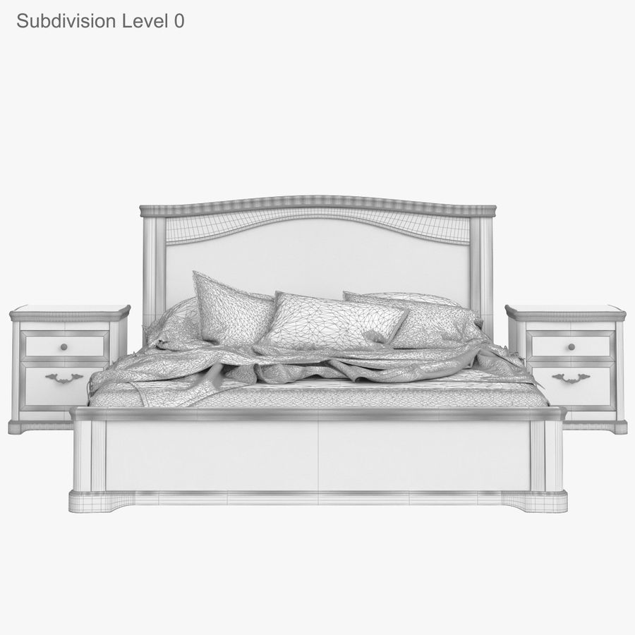 Set Classic Wooden Furniture For Bedroom Bed With Bedside Tables, Cabinet, Cupboard, Commode royalty-free 3d model - Preview no. 25