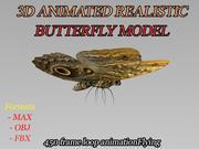 Fjäril realistisk 3D animerad modell 3d model
