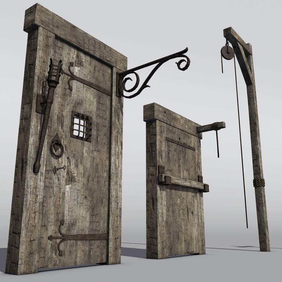 Średniowieczny zestaw sprzętu Low Poly royalty-free 3d model - Preview no. 6