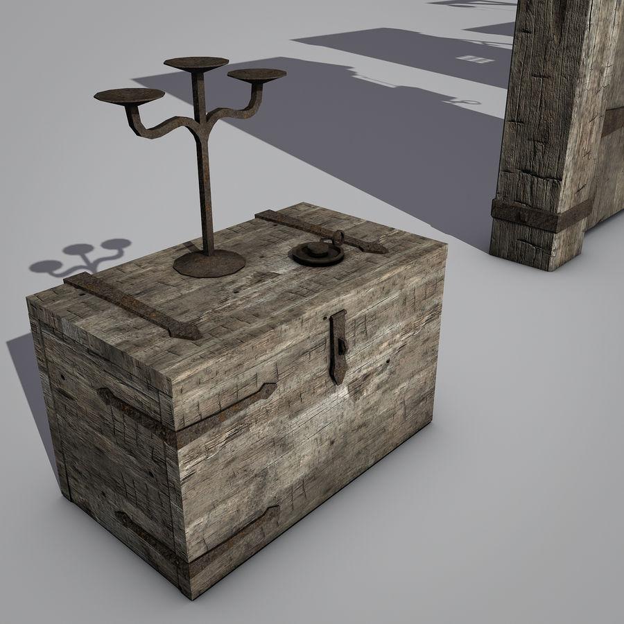 Średniowieczny zestaw sprzętu Low Poly royalty-free 3d model - Preview no. 7