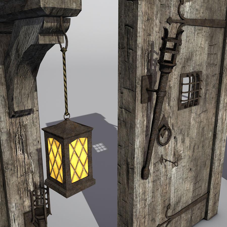 Średniowieczny zestaw sprzętu Low Poly royalty-free 3d model - Preview no. 9
