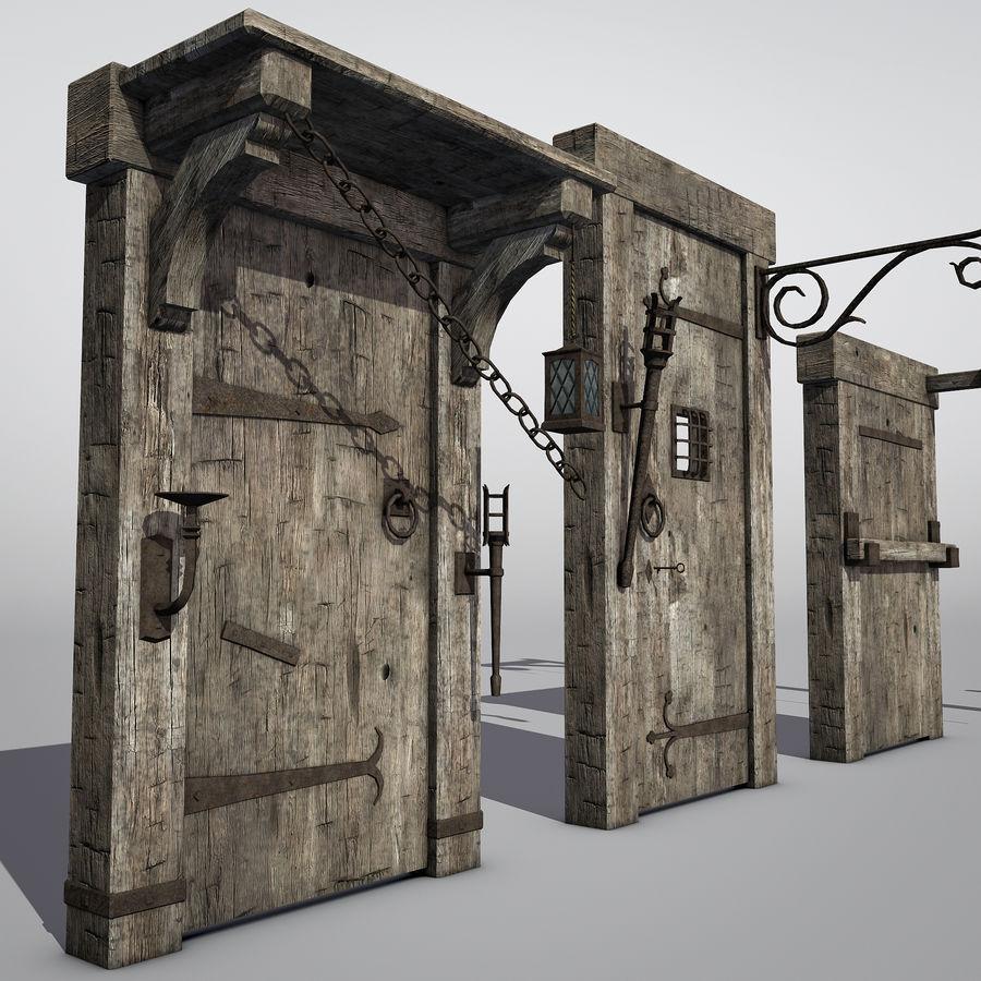 Średniowieczny zestaw sprzętu Low Poly royalty-free 3d model - Preview no. 1