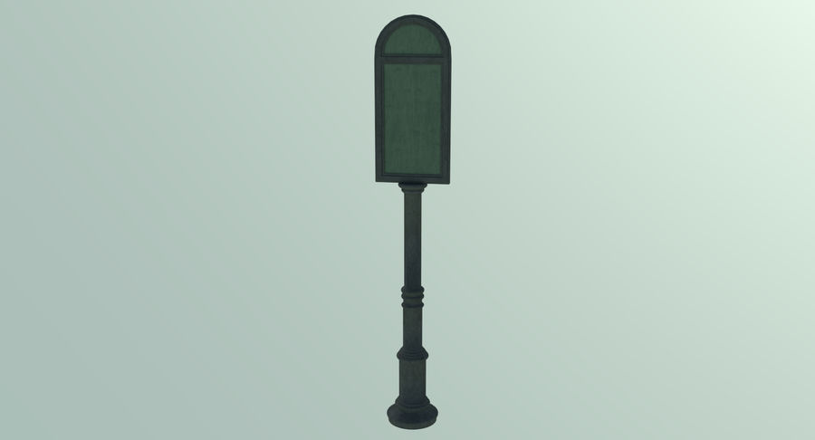 Street advertisment sign three textured royalty-free 3d model - Preview no. 3