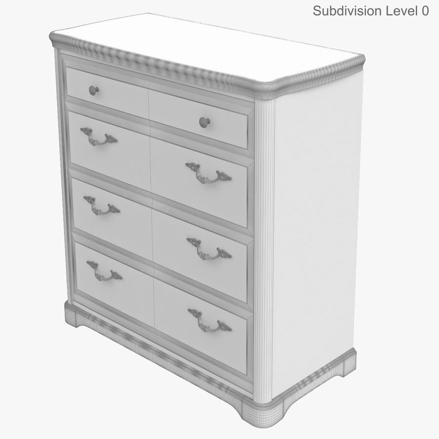Furniture Classic Wooden Commode royalty-free 3d model - Preview no. 16