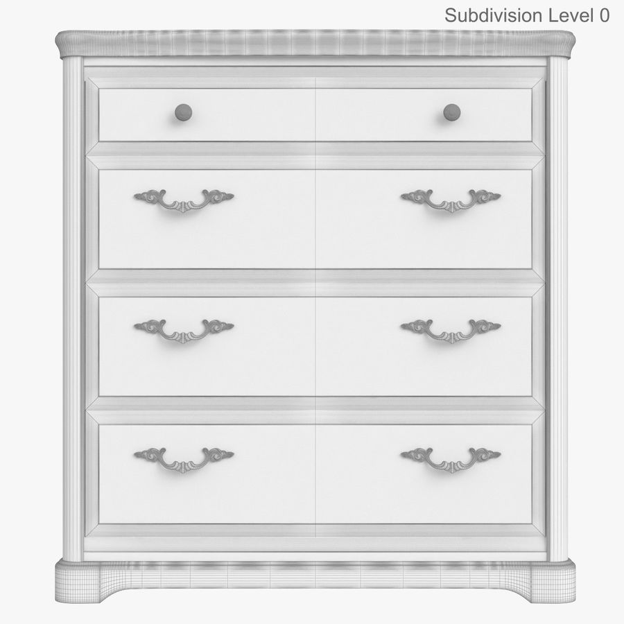 Furniture Classic Wooden Commode royalty-free 3d model - Preview no. 14