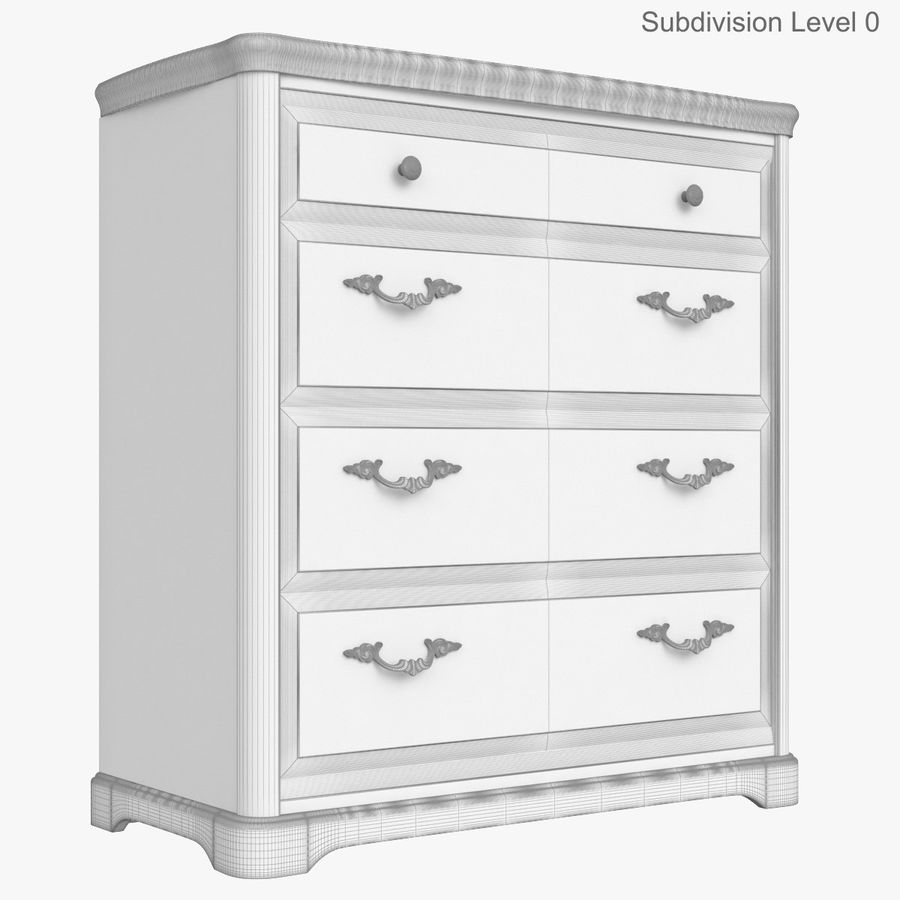 Furniture Classic Wooden Commode royalty-free 3d model - Preview no. 13