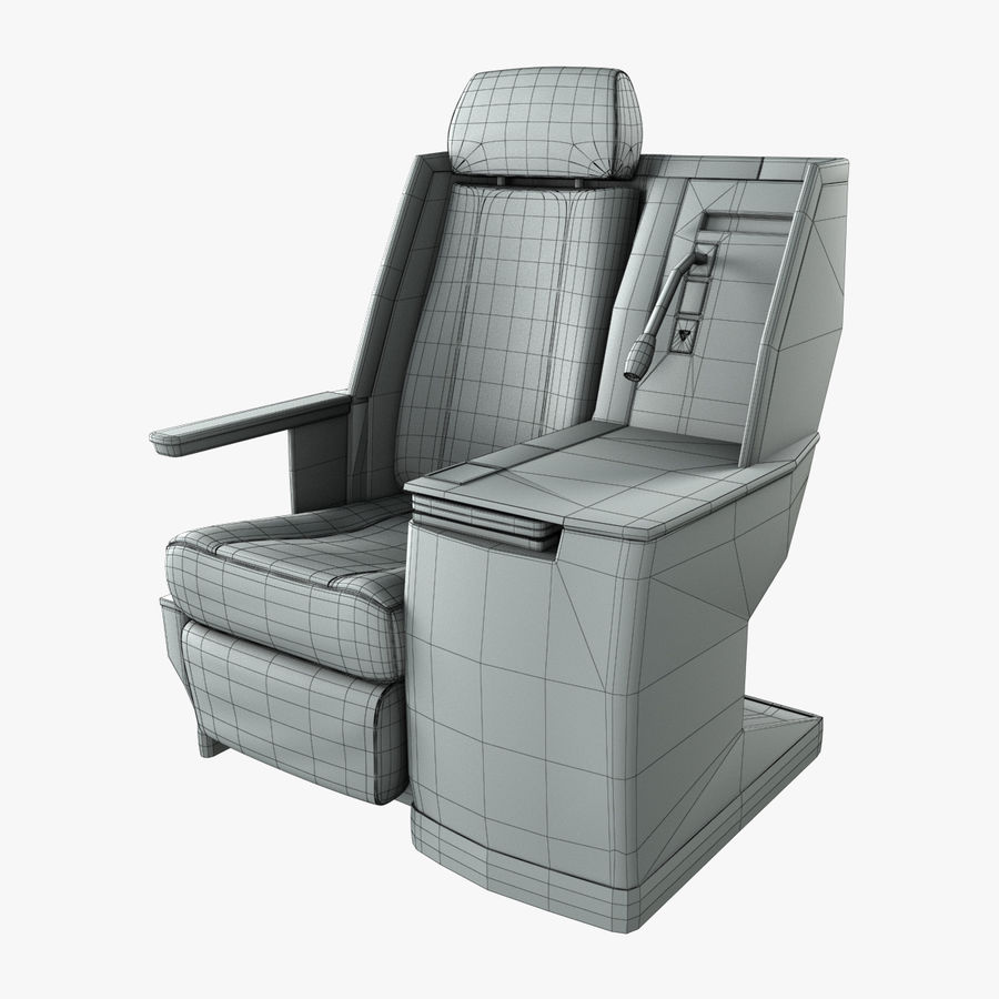 First Class Airplane Seat (Rigged) royalty-free 3d model - Preview no. 3