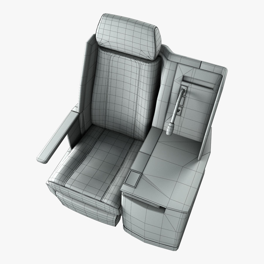First Class Airplane Seat (Rigged) royalty-free 3d model - Preview no. 12