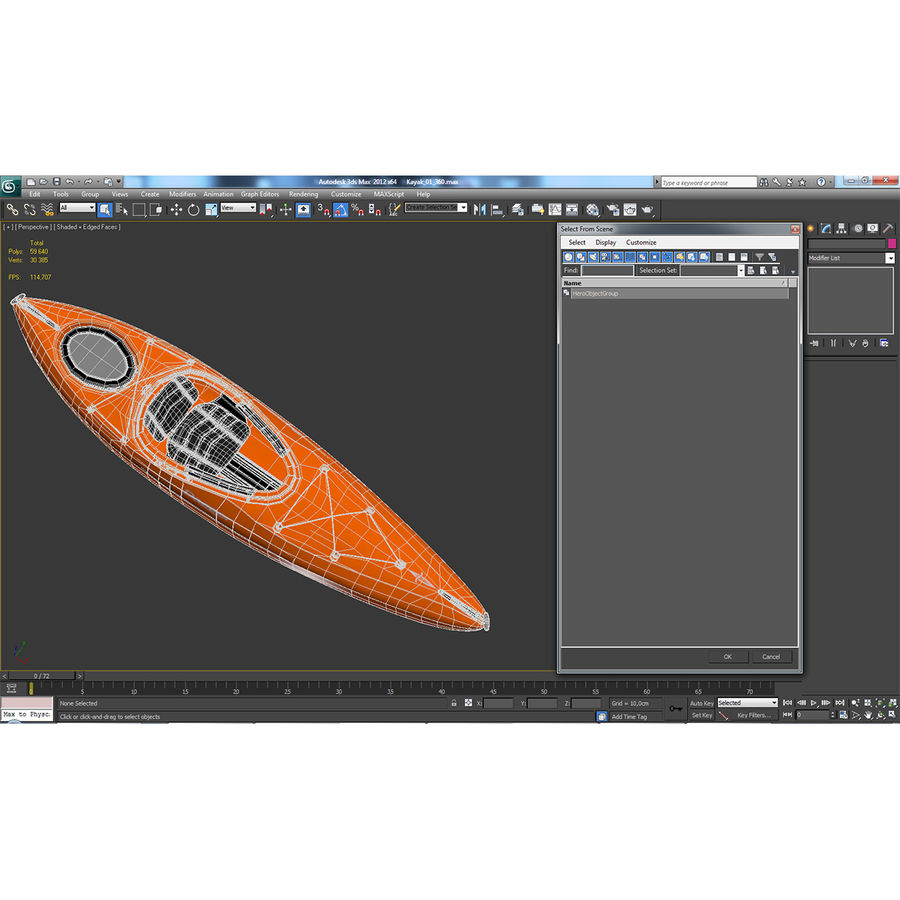 Kayak naranja royalty-free modelo 3d - Preview no. 22