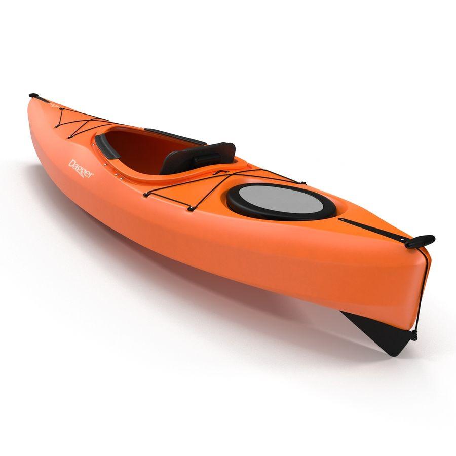 Kayak naranja royalty-free modelo 3d - Preview no. 15