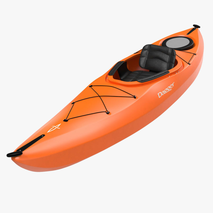 Kayak naranja royalty-free modelo 3d - Preview no. 1