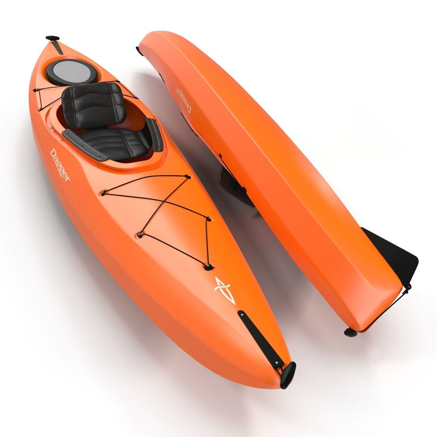 Kayak naranja royalty-free modelo 3d - Preview no. 9
