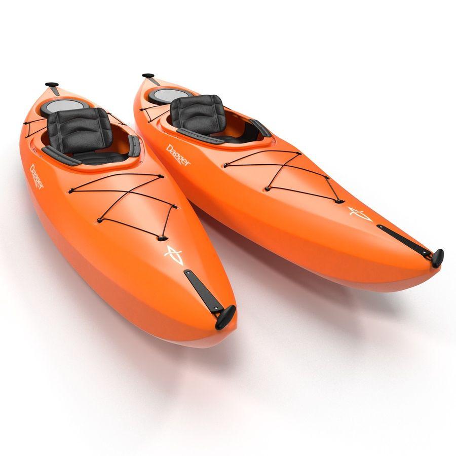 Kayak naranja royalty-free modelo 3d - Preview no. 3