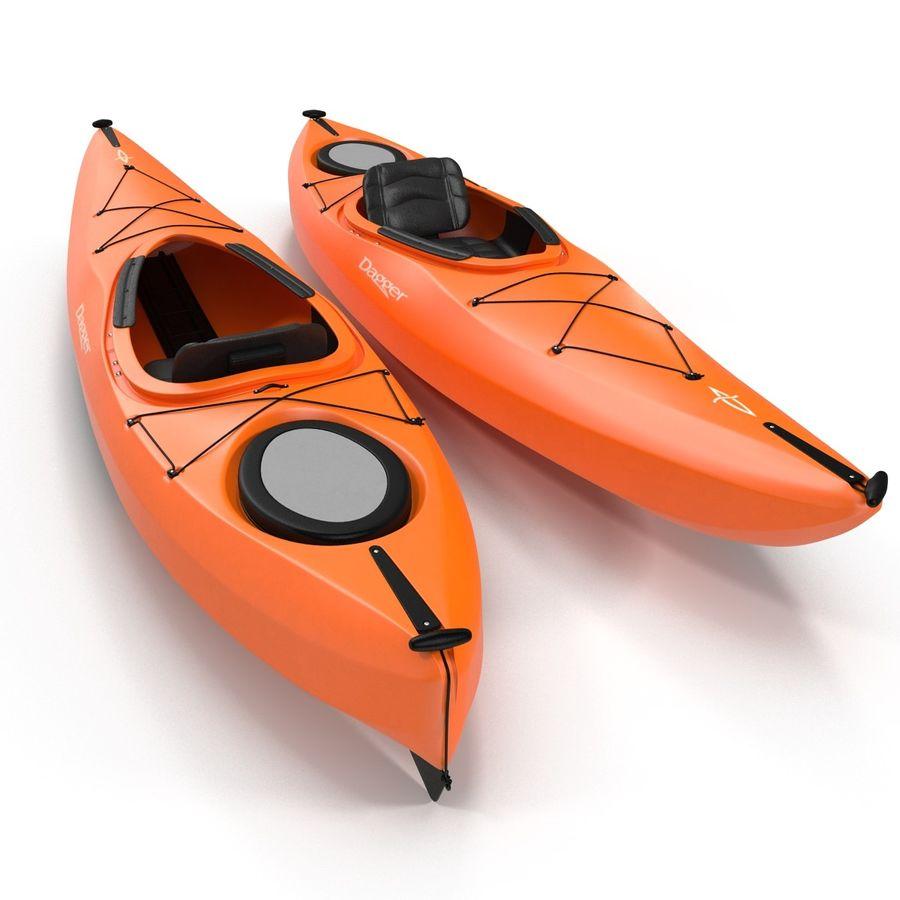 Kayak naranja royalty-free modelo 3d - Preview no. 4