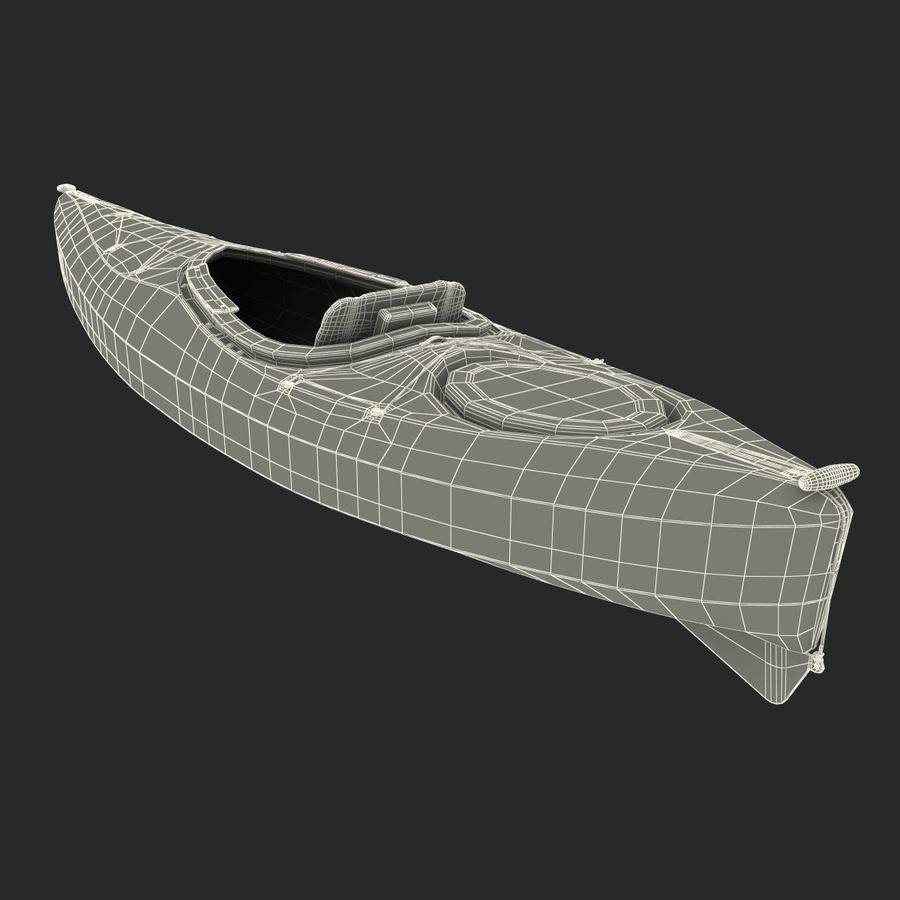 Kayak naranja royalty-free modelo 3d - Preview no. 25