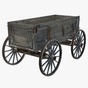 Old Wooden Wagon 2 3d model