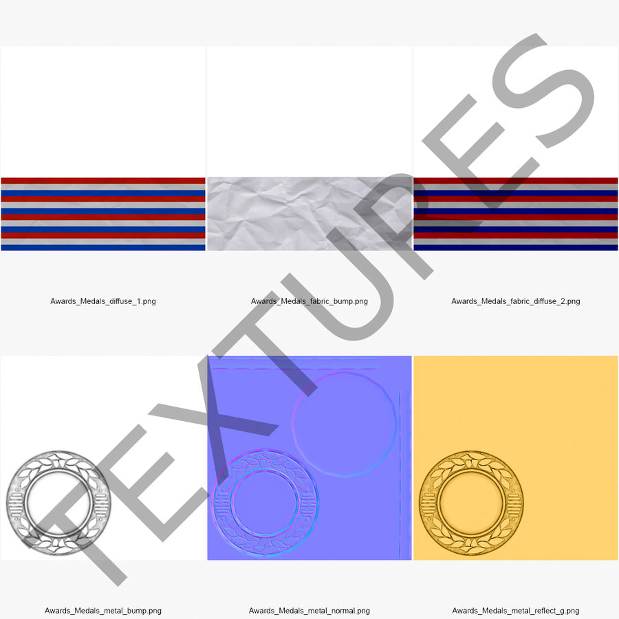 Nagroda Medal Złoty royalty-free 3d model - Preview no. 12