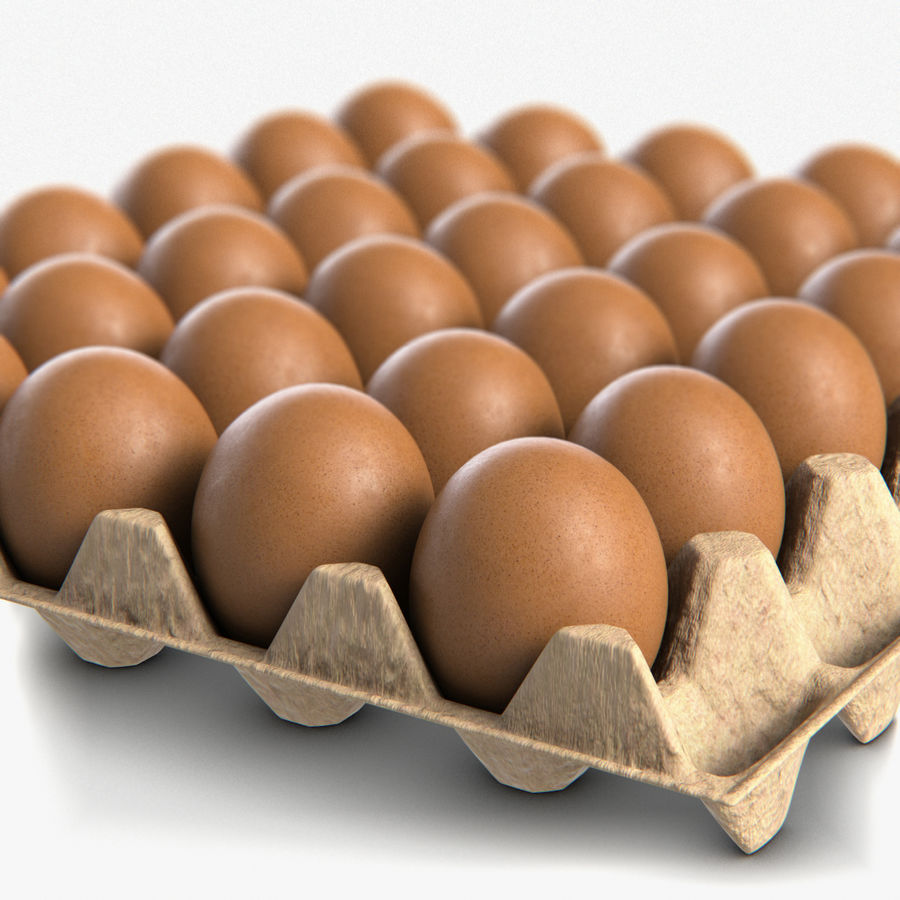 Egg Package With Eggs royalty-free 3d model - Preview no. 1