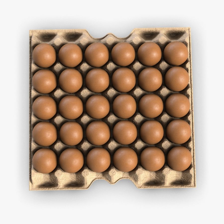 Egg Package With Eggs royalty-free 3d model - Preview no. 3