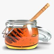 Glass Jar Of Honey With Dipper 2 3d model