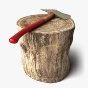 斧と丸太 3d model