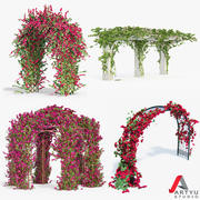 Set climbing roses bougainvillea Of 4 Pergolas With Flowers Ivy 3d model