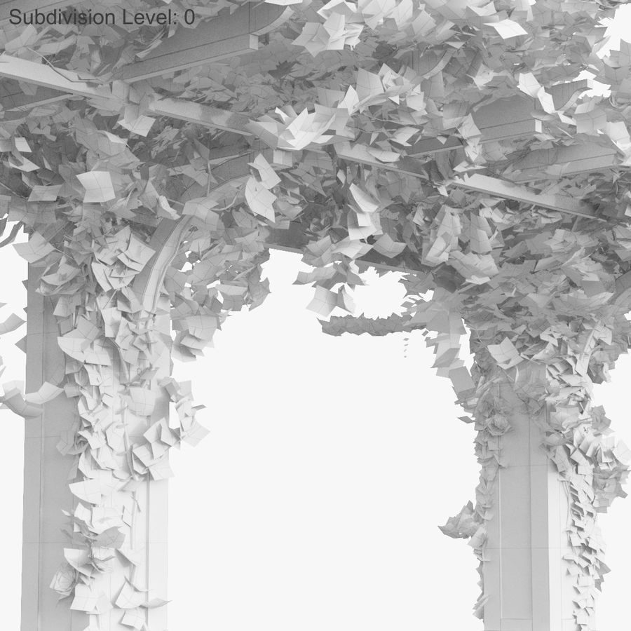 Set climbing roses bougainvillea Of 4 Pergolas With Flowers Ivy royalty-free 3d model - Preview no. 28