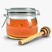 Glass Jar Of Honey With Dipper 1 3d model