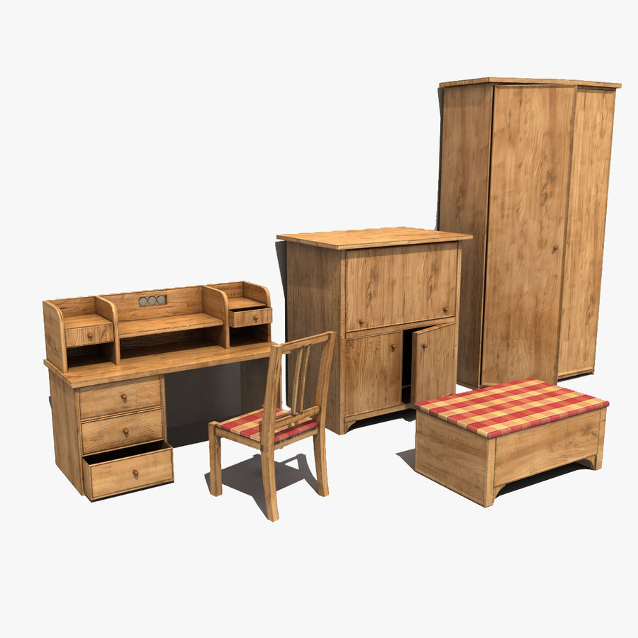 Old Furniture Collection royalty-free 3d model - Preview no. 1