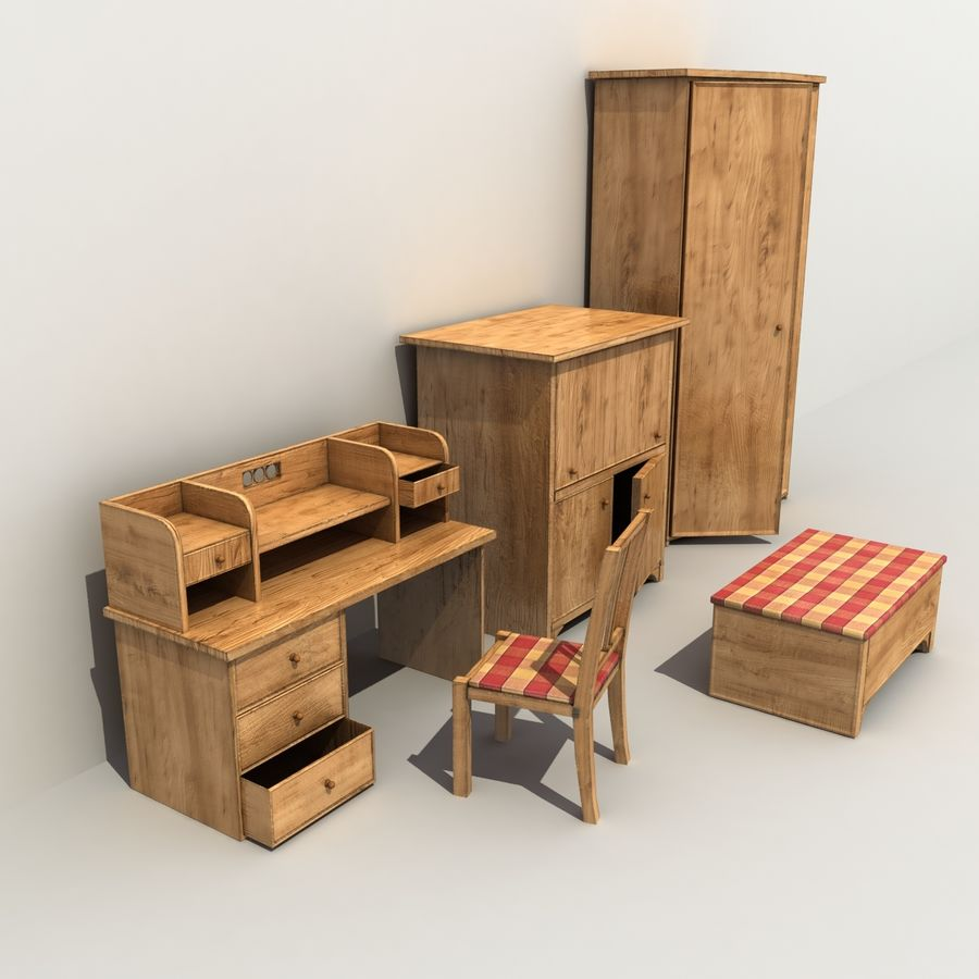 Old Furniture Collection royalty-free 3d model - Preview no. 5