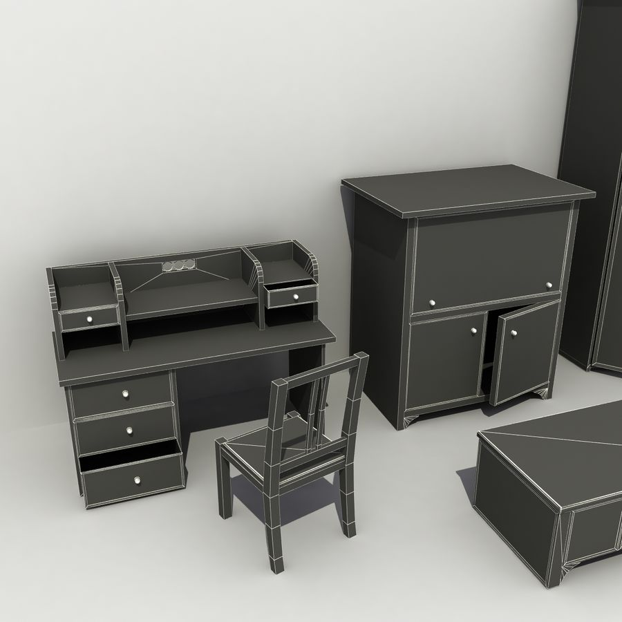 Old Furniture Collection royalty-free 3d model - Preview no. 9