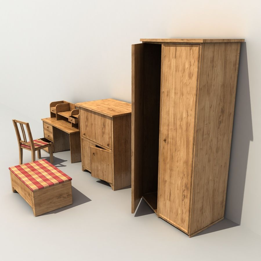 Old Furniture Collection royalty-free 3d model - Preview no. 4