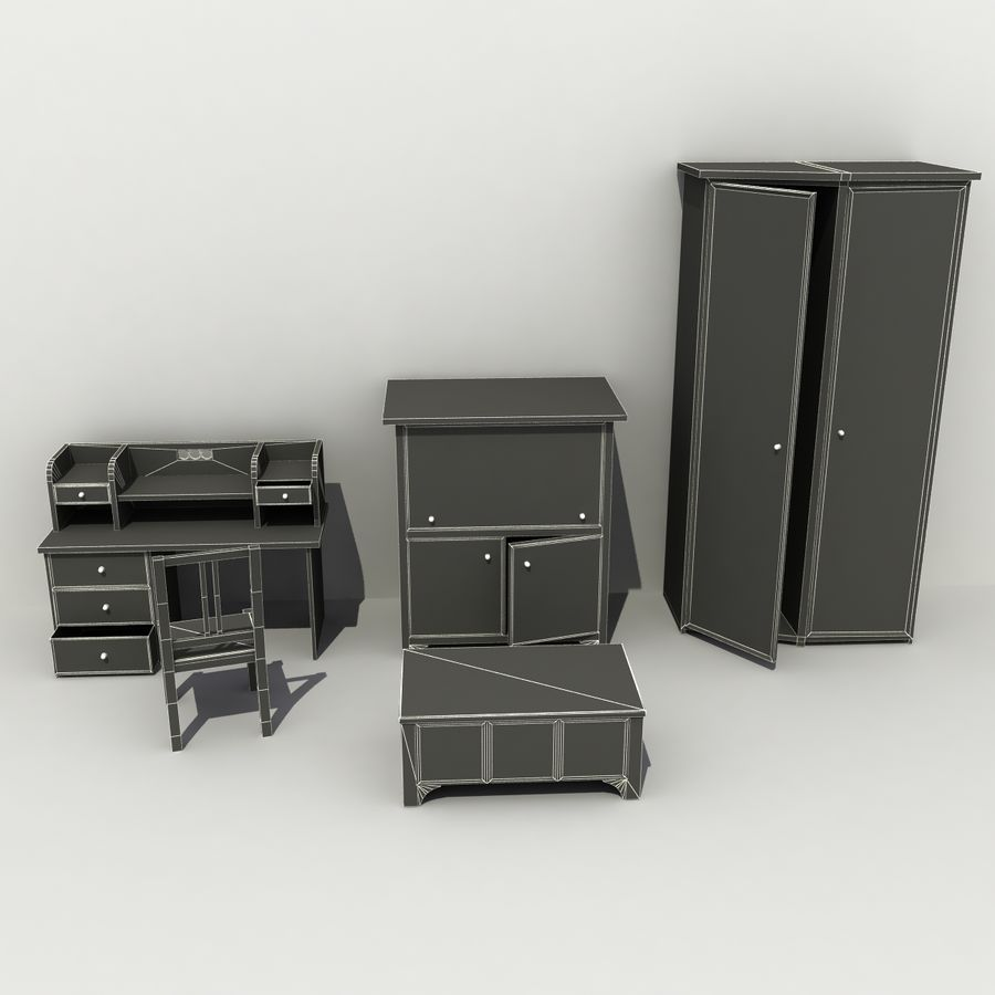 Old Furniture Collection royalty-free 3d model - Preview no. 7