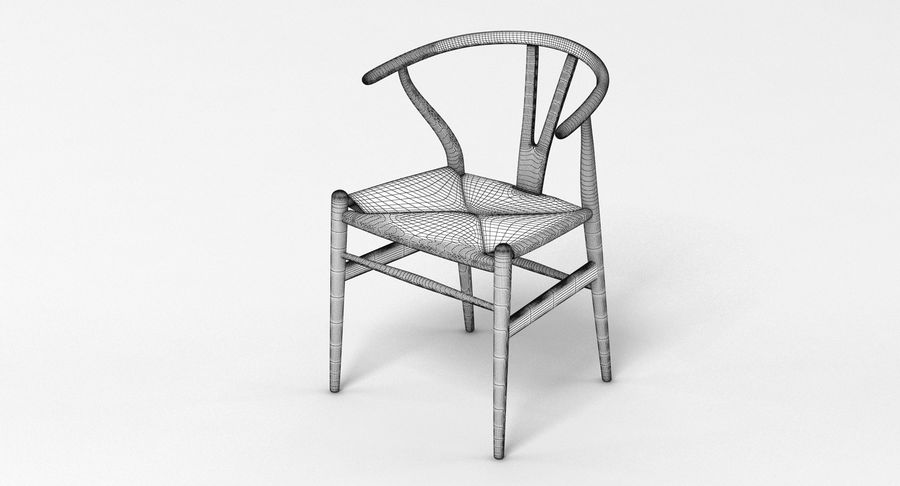 Wishbone Chair 002 royalty-free 3d model - Preview no. 4